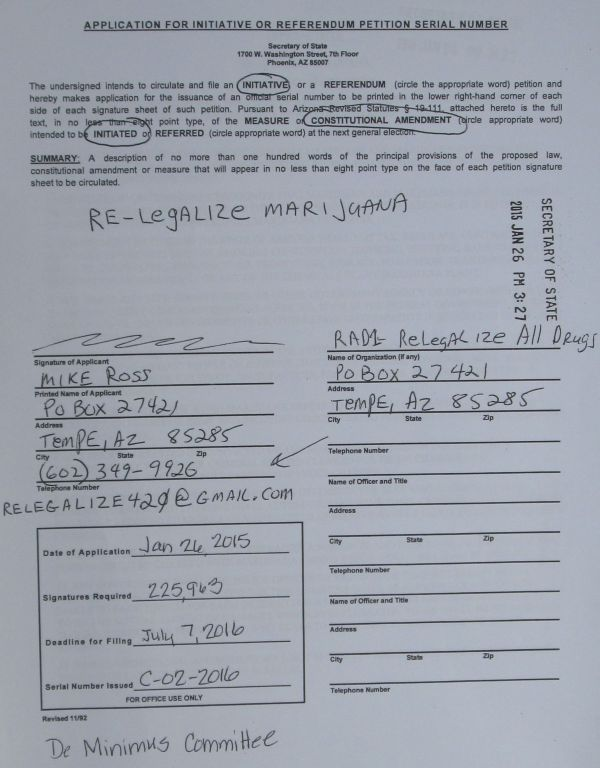 Application for petition or referendum petition serial number to re-legalize marijuana or legalize marijuana in Arizona - serial number C-02-2016